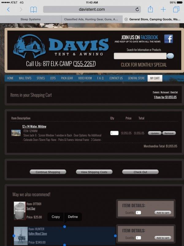 12x14 Davis Wall Tent - MonsterMuleys com